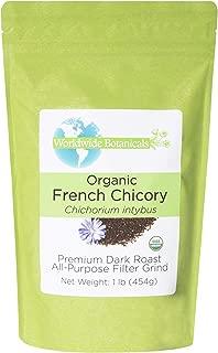 Worldwide Botanicals, Organic French Chicory Root (Coffee Substitute), Dark Roast, All-Purpose Filter Grind, Caffeine Free, Acid Free, 1 lb.(454g)