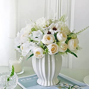 Artificial Fake Flowers with Vase Indoor 3pack Silk Rose Hydrangea Bouquet Faux Flowers in Ceramics Vase Arrangement Decor Home Table Dining Room Wedding Decoration (Champagne)
