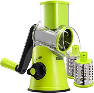 Rotary Cheese Grater Vegetable Slicer Veggie Chopper - Mandoline Slicer Cheese Shredder With 3 Drum Blades Faster For Cheese Potato Carrot Zucchini Salad
