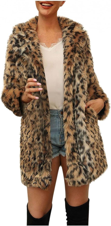 ManxiVoo Womens Women's Warm Leopard Faux Fur Plush Coat Jacket Plus Size Winter Top Cardigan Coat Outerwear