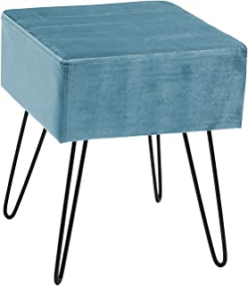 Sorbus Velvet Footrest Stool, Square Mid-Century Modern Luxe Velvet Ottoman, Footstool Side Table, Removable Metal Leg Design (Teal)