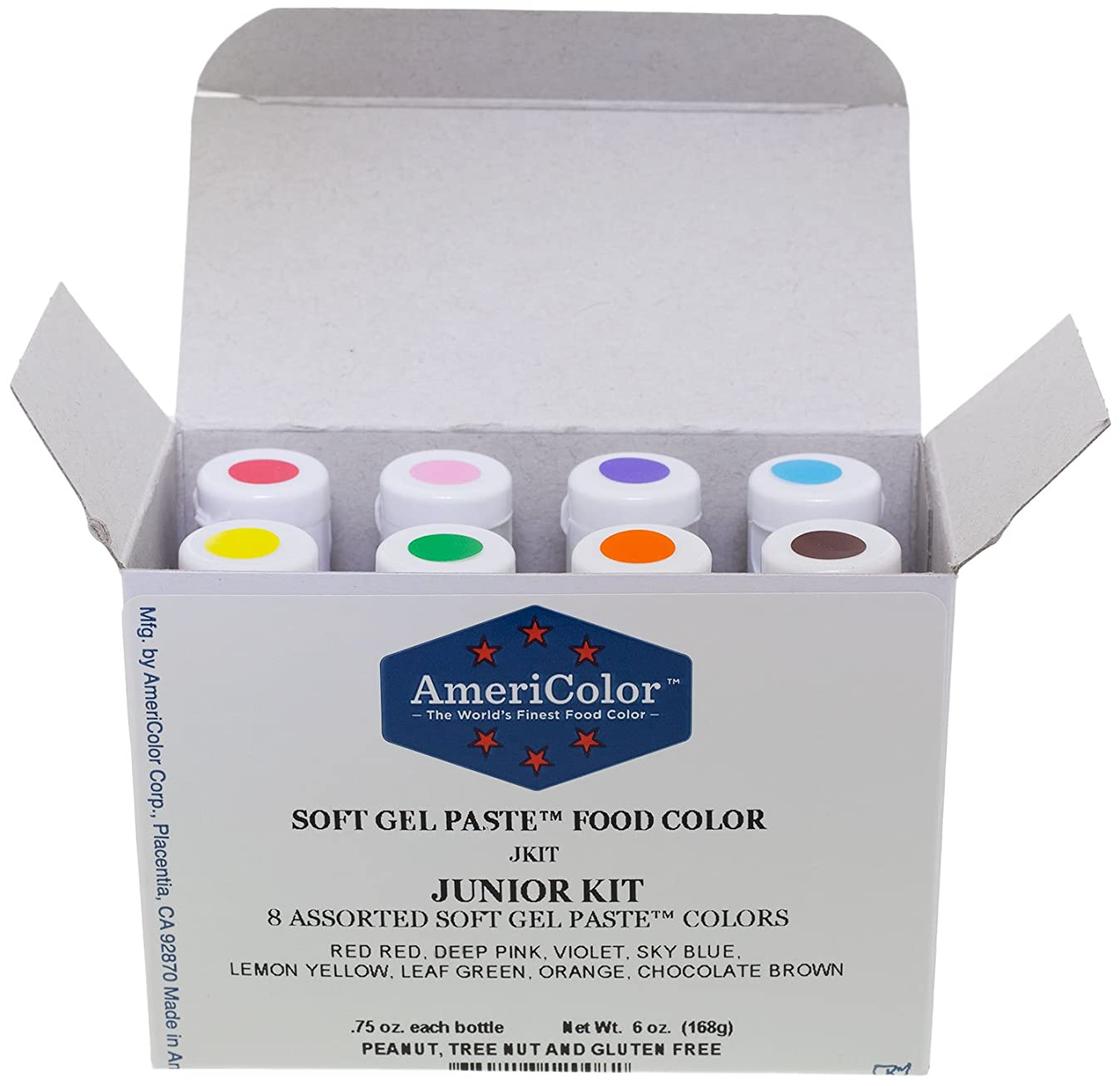 Food Coloring AmeriColor Soft - Gel Paste Junior Kit, 8 Colors.75 Ounce Bottles