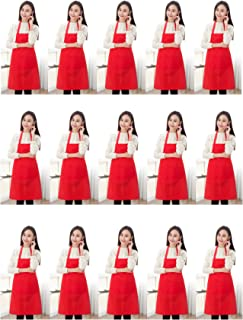 TSD STORY Red Plain Bib Aprons Bulk for Women Men Adult with 2 Front Pockets(Red,15 PCS)