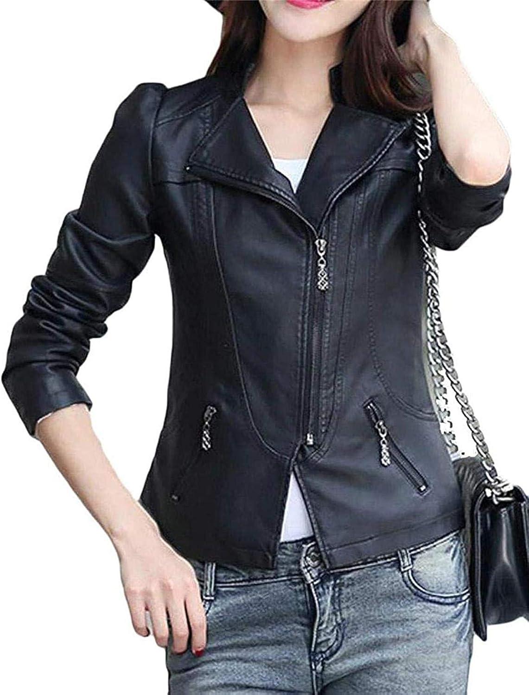 Women's Slim Locomotive Rider Beveled Zipper Collar PU Leather Casual Jacket