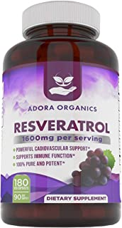 Adora Organics Resveratrol 1600mg - Antioxidents Quercetin Trans-Resveratrol 180 Capsules. Supports Healthy Aging and Prom...
