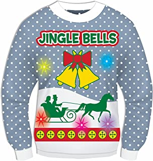Blue Musical Light-Up Jingle Bells Adult Ugly Christmas Sweater