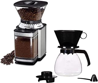 Cuisinart Coffee Makers Supreme Grinder Automatic Burr Mill bundle with Pour Over 6 Cup Brewer Manual Coffee Maker with Glass Carafe