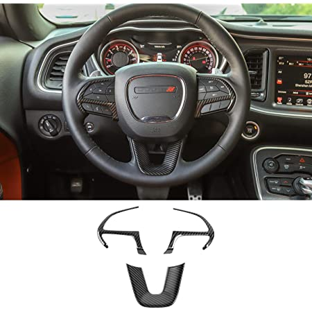 Steering Wheel Trim Cover ABS Steer Wheel Interior Trim Cover for Dodge Challenger Charger Durango for Jeep Grand Gherokee SRT Accessories Red Carbon Fiber