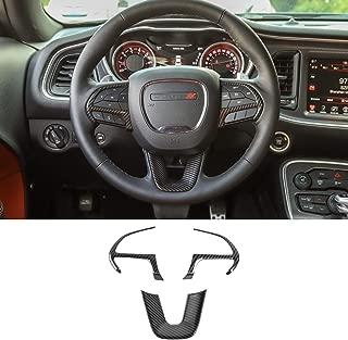 Voodonala for Challenger Steering Wheel Decoration Trim for 2015 up Dodge Challenger 2014 up Durango 2014 up Jeep Grand Cherokee SRT8 (Carbon Fiber Grain, 3pcs)