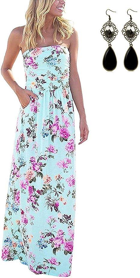 Carinacoco Damen Bandeau Bustier Kleider Mit Blute Drucken Lange Sommerkleid Abendkleid Partykleid Cocktailkleid Amazon De Bekleidung