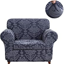 CHUN YI 2-Piece Stretch Jacquard Damask Elegant Collection Sofa Slipcover Easy Fitted Couch Cover Stretchable Durable Furniture Protector (Chair, Grayish Blue)