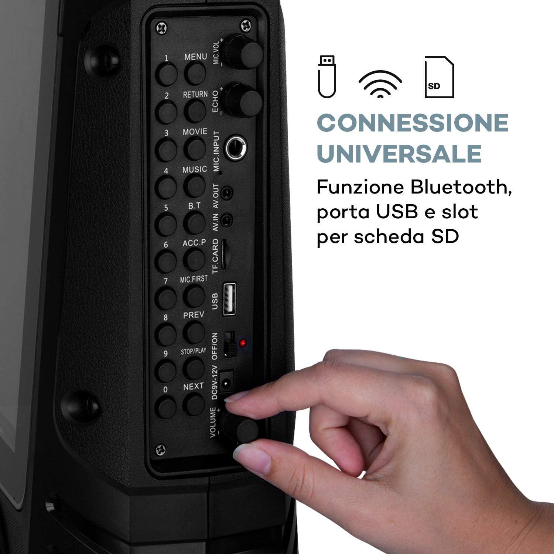 USB Display a Colori 14.1 AUNA CenterStage Radiomicrofono 30 W RMS Nero Carbone Bluetooth Slot MicroSD Cassa Karaoke Sistema Karaoke Batteria Ricaricabile
