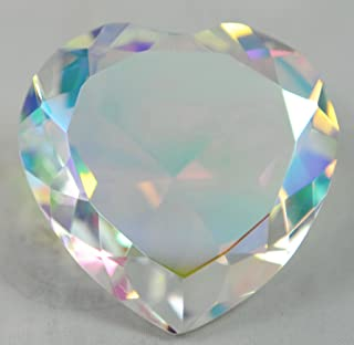 Crystal Diamond Jewel Paperweight 80 mm Heart Translucent Rainbow