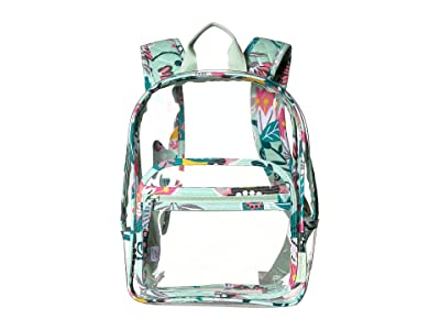 Vera Bradley Clearly Colorful Stadium Backpack (Mint Flowers) Backpack Bags