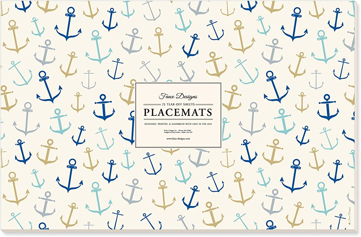 Faux Designs Paper Placemats Whimsical Anchors