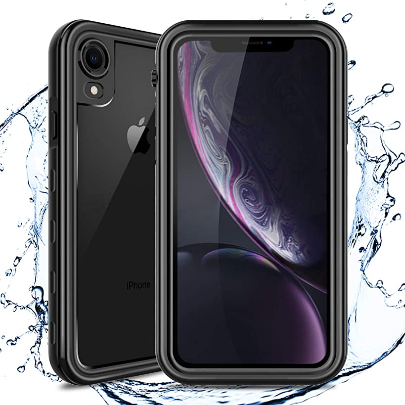 Venoro Compatible iPhone XR Waterproof Case, Full Body Protective Case Cover with Clear Screen Protector, 10ft/3m Underwater IP68 Certified Waterproof Phone Case for iPhone XR 6.1 Inch