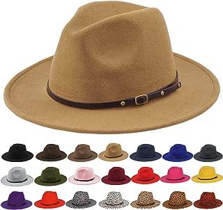 Women Belt Buckle Fedora Hat Vintage Wool Jazz Hat Panama Hat