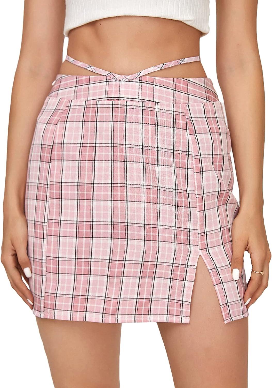 MakeMeChic Women's Plaid Print Tie Back High Elastic Waist Skater Short Skirt