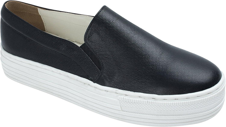 AnnaKastle SoYou Womens Genuine Leather Platform Slip-On Sneakers