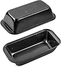 Black Loaf Bread Pan Set of 2, HOMARTY 10inch x 5inch Nonstick Bakeware Carbon Steel Bread Toast Mold Baking Pan