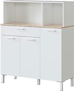 Habitdesign 0F9930A - Alacena de Cocina Aparador Mueble Auxiliar 3 Puertas + 1 Cajon y Estante Blanco Artik y Roble Can...