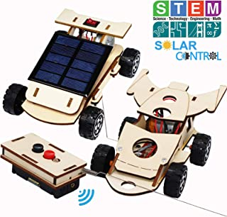 Wooden Solar & Wireless Remote Control Car Model Kits to Build - DIY Science Experiment and Educational STEM Toys for Kids Age 8-12,Circuit Engineering Project 2 Kits (2 Model Cars Kits)