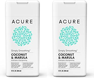 Acure Organics Coconut Straightening Brazilian Keratin Coconut Water + Marula Oil Natural Shampoo, 8 fl. oz. (Pack of 2)