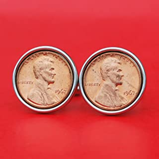 US 1967 Lincoln Small Cent BU Uncirculated Coin Silver Plated Cufflinks NEW - Lucky Penny