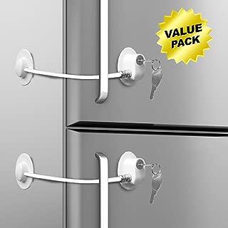 Loot Lock Fridge Lock, Stick On Lock for Refrigerator Door with 2 Keys with 3M VHB for Child Safety, Cabinet Lock, Dorm Fridge Lock, Compact Freezer Lock (2 Pack) (2 Pack White)