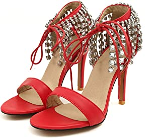 Women pu Super high Thin Heel Cross-Strap lace-up Three Colors Crystal Fringe Sexy Sandals,red,4