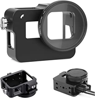 D&F CNC Aluminum Alloy Case Frame Outdoor Sport Housing Camera Shell Box Frame Mount Prevent Overheating with Protective Lens for Gopro HERO 6 (Black)