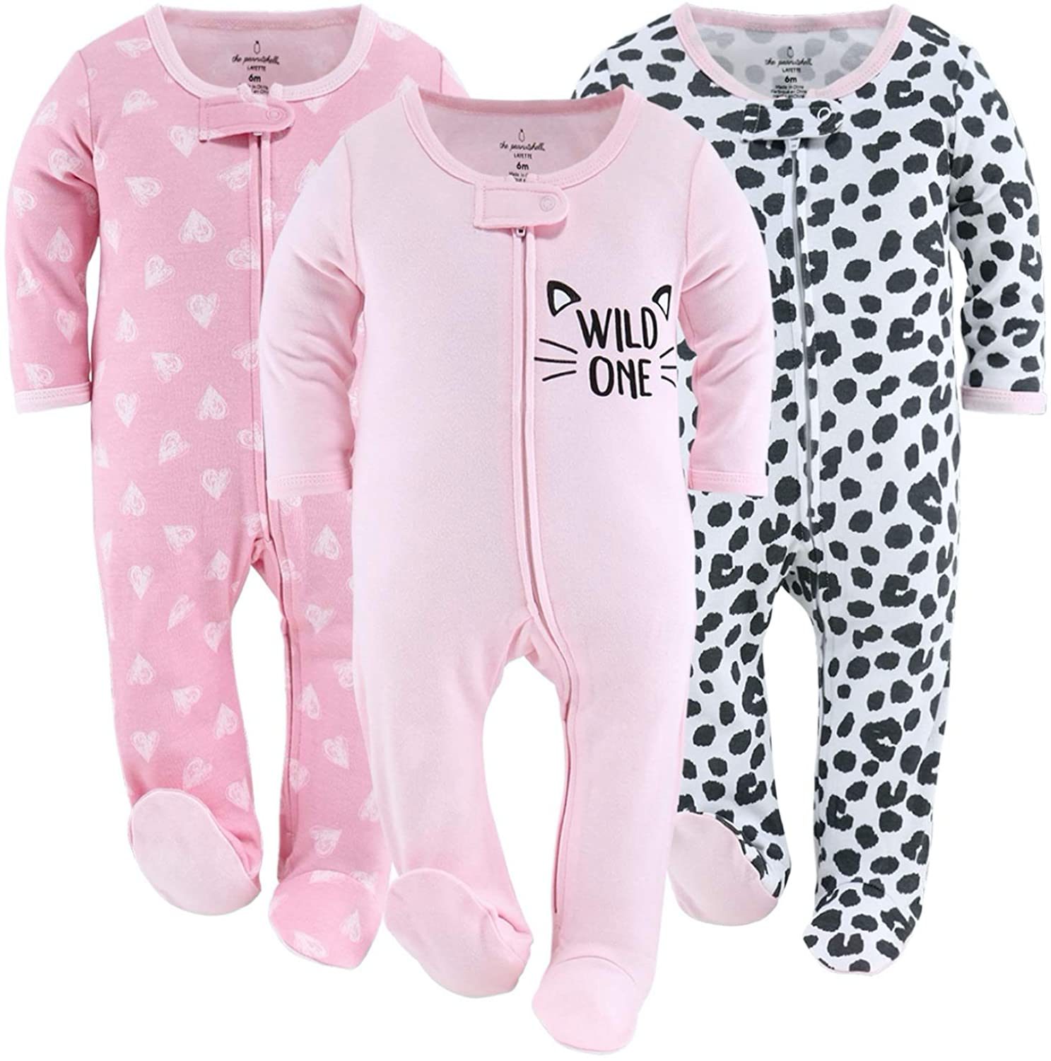The Peanutshell Outlet SALE Footed Baby Sleepers for Pink H Cheetah Girls Dealing full price reduction