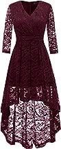 DRESSTELLS Women's Vintage Floral Lace 3/4 Sleeves Dress Hi-Lo Cocktail Party Swing Dress