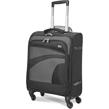 Aerolite 55x40x20 Ryanair Maximum Allowance 38L Lightweight Travel Carry On Hand Cabin Luggage Suitcase with 4 Wheels - Also Approved for Easyjet, British Airways, Jet2 and More (Black/Grey)