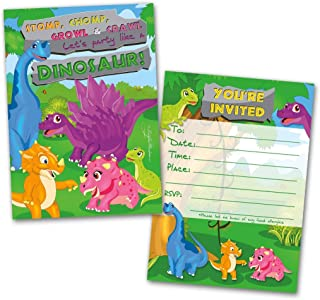 Dinosaur Party Invitation Cards, 20 Cards with 20 Envelopes, Birthday Invitations, Party Invitations, Invitation Card, Birthday Party Invitations, Flat Style, Colorful Design,