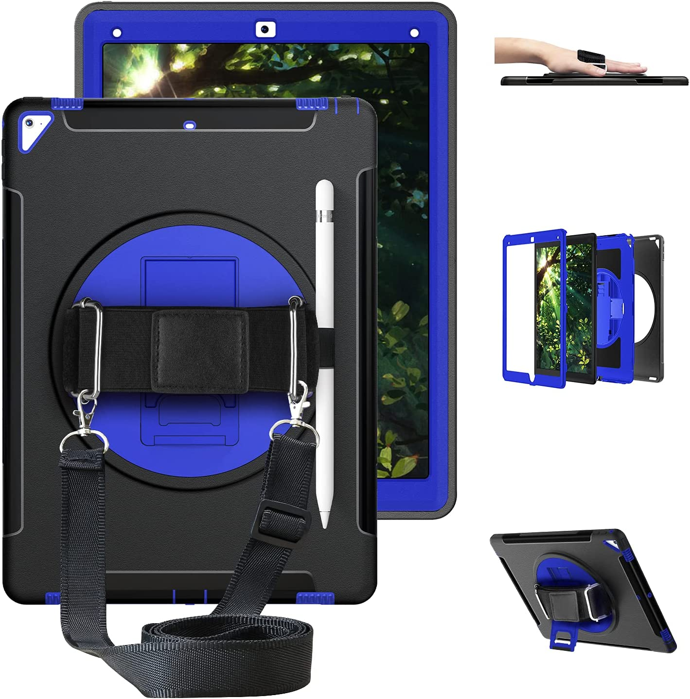 GEEKSDOM iPad Pro 12.9 Case 2nd Generation 2017 & 2015 1st Generation, Heavy Duty Rugged Shockproof Protective Soft TPU Back Cover w/360 Rotating Stand/Handle Hand/Shoulder Strap/Pencil Holder Blue