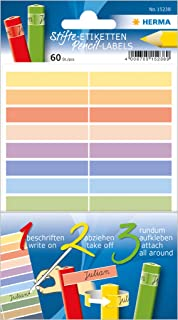 Herma 15238 Etykiety Na Długopisy Dla Dzieci, Wiele Kolorów, 60 Naklejek Imiennych Na Długopisy z Papieru, 10 X 46 Mm, Trw...