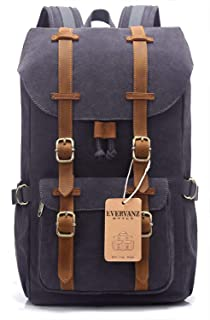 Canvas Backpack for Travel Hiking Casual School Daypack Fits 15
