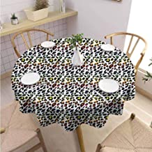 Leopard Print,Round Tablecloth,Home Round Tablecloth,Round Tablecloth for Kids/Childrens,Polyester Fabric-(70