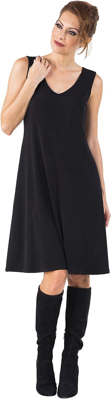 Eva Varro Women's S L V Neck A Line Dress Black