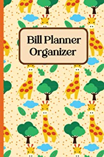 bills tracker organizer: cute jiraffe Bill Pay Log Book, Home Finance Bill Organizer, Budget Log, Monthly Expense Tracker,...