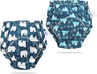 2 Packs Cotton Training Pants Padded Unisex Toddler Potty Pee Training Pants Reusable Underwear for Toddlers Girls Boys