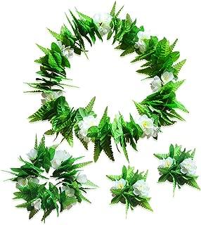 Hula Skirt Hawaiian Party Green Leaves Flowers Necklaces Bracelets Headband Elastic Dancer