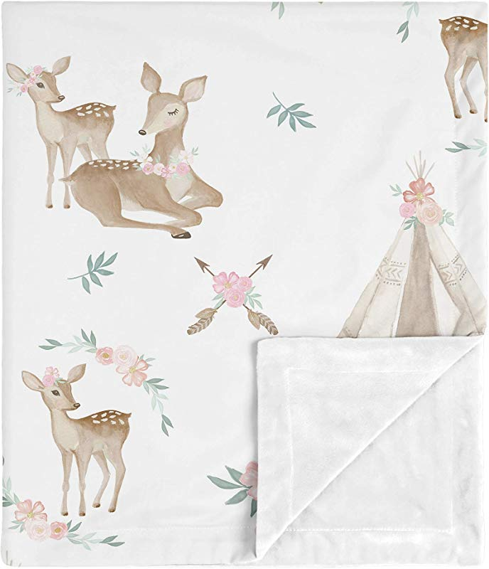 Sweet Jojo Designs Boho Watercolor Woodland Deer Floral Baby Girl Receiving Security Swaddle Blanket For Newborn Or Toddler Nursery Car Seat Stroller Soft Minky Blush Pink Mint Green And White