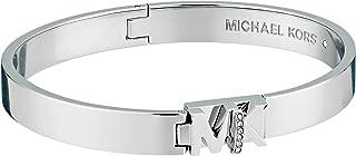 Womens Iconic Hinged MK Logo Bangle Bracelet with Hint of Glitz