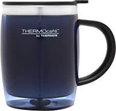 THERMOcafe by Thermos Stainless Steel Inner Plastic Outer Desk Mug, 450ml, Blue, THM4BAUS