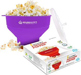 Collapsible Silicone Microwave Hot Air Popcorn Popper Bowl With Lid and Handles - Purple