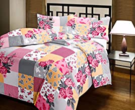 Handicraftworld Beautifully Design & Pink Rose Printed Micro Cotton Reversible A/C Double Bed Blanket/Dohar/Quilt (Multicolour) (Multi)