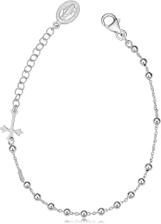 Sterling Silver Saturn Rosary Adjustable Length Bracelet (adjusts from 7 to 8.5 inch)