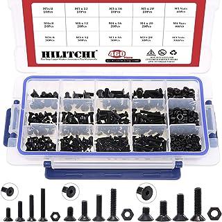 Hilitchi 460-Pcs M3 M4 M5 Hex Socket Flat Head Countersunk Bolts Screw Nut Assortment Kit - 10.9 Grade Alloy Steel